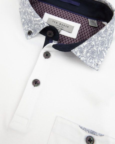 Floral print collar polo shirt - White | Tops & T-shirts | Ted Baker UK