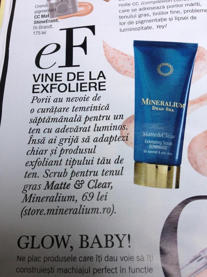 Scrubul Matte&Clear este recomandarea revistei Glamour pentru luna August.Multumim!