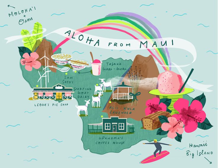 Illustration by Lindsey Balbierz   - Map of Maui #hawaii #maui #surfing