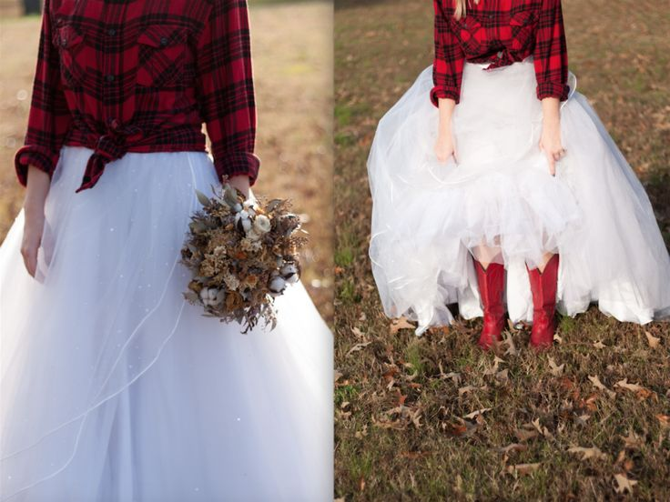 red flannel wedding dress red boots Three Magpies Photography