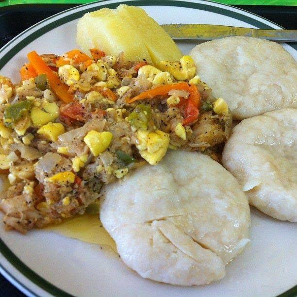 ackee and saltfish, dumplings and yam | Aʊtɦɛռtɨċ Jaʍaɨċaռ ...