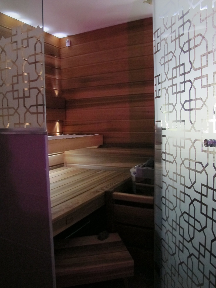 Frosted glass sauna doors