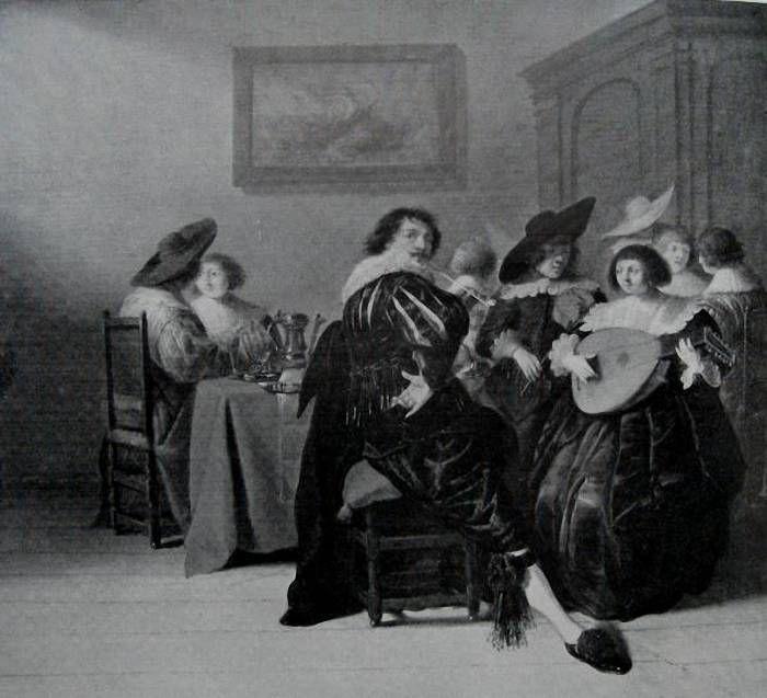 Schilderij mogelijk van Dirk Hals Torrentius in jeugdig gezelschap. Koninklijk Museum te Brussel