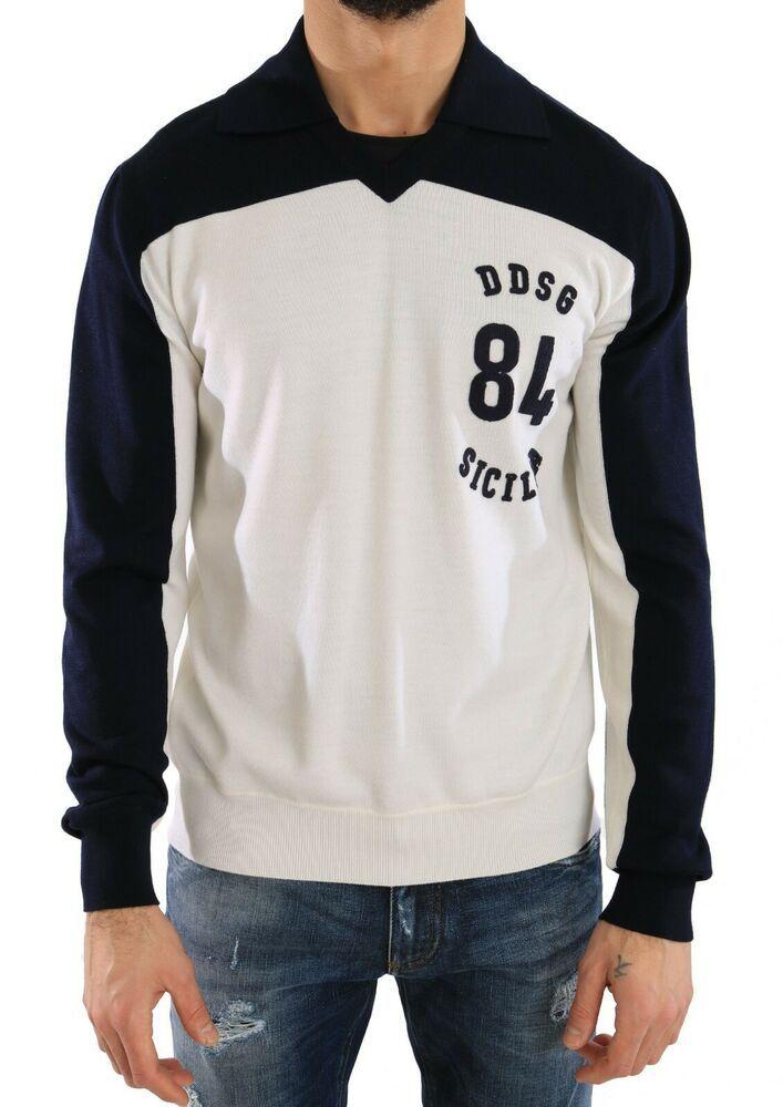 NEW $720 DOLCE & GABBANA Sweater Blue White Wool Crewneck