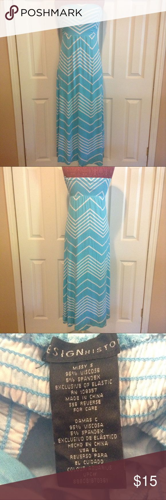 Designhistory size S blue and white chevron dress Designhistory, blue and white, size S, chevron, strapless, NWOT, never been worn, dress. Great shape no stains or tears. Dresses Strapless