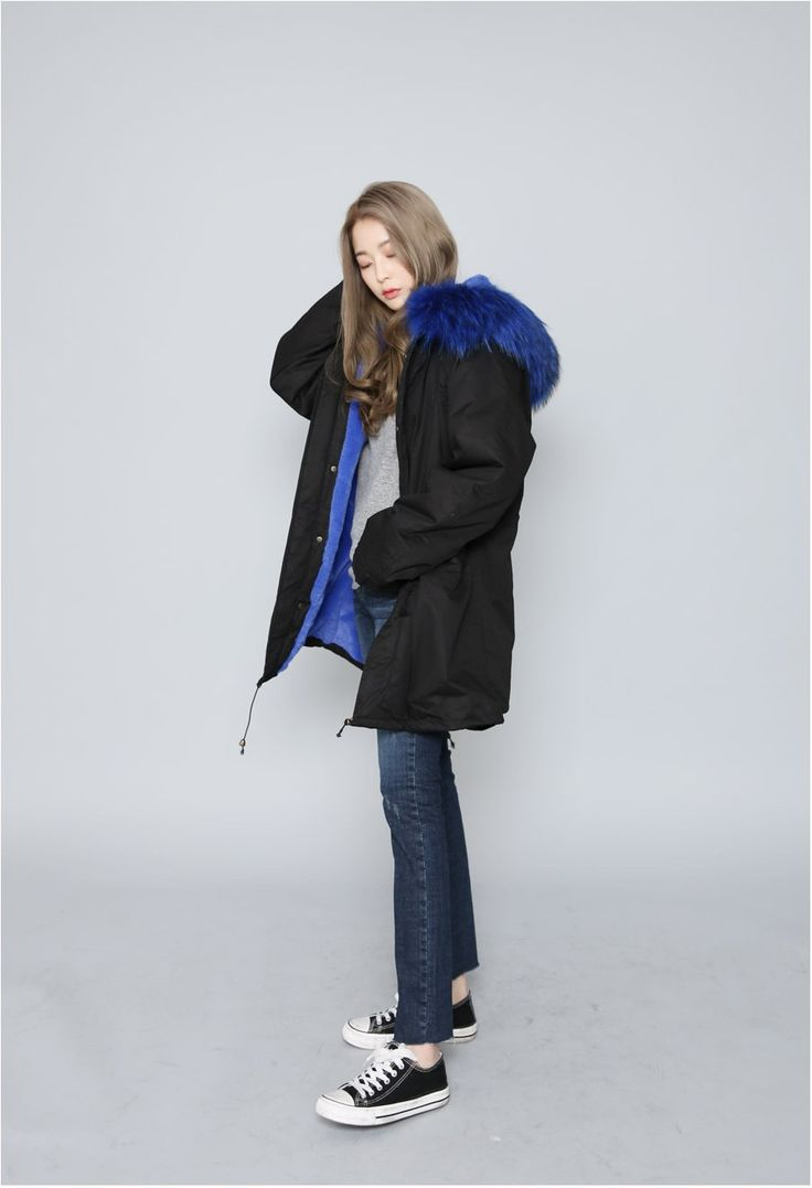 Trendy colorful fur puffer coat
