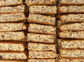 """Dad's Everything Rusks 1box all bran. 2 c oats 2 c wh wht flour 4 TBLS bk pdr 1 lb butter 1 bx dark brown sugar 4 c assorted raw nuts 1 box raisins 1 c sunflower seeds 1/2 c flax seeds 1/2 c sesame seeds 1 c pumpkin seeds 1 qrt. butter milk 8 ex lg eggs Mix dry ing Melt butter mix with sugar Beat eggs mix into buttermilk Add dry ingr. To wet, add more buttermilk if needed Make Slice marks 1""""x2"""" 350 1-1 1/2 hrs Dry in warm oven until dry."""