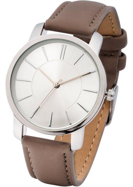 Часы на классическом браслете, bpc bonprix collection, темный серо-коричневый