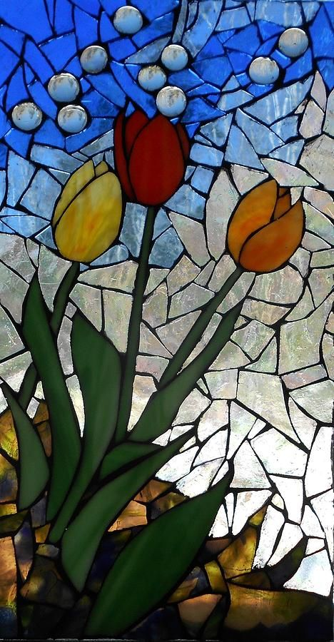 Tulips Glass Art - Mosaic Stained Glass - Spring Shower by Catherine Van Der Woerd