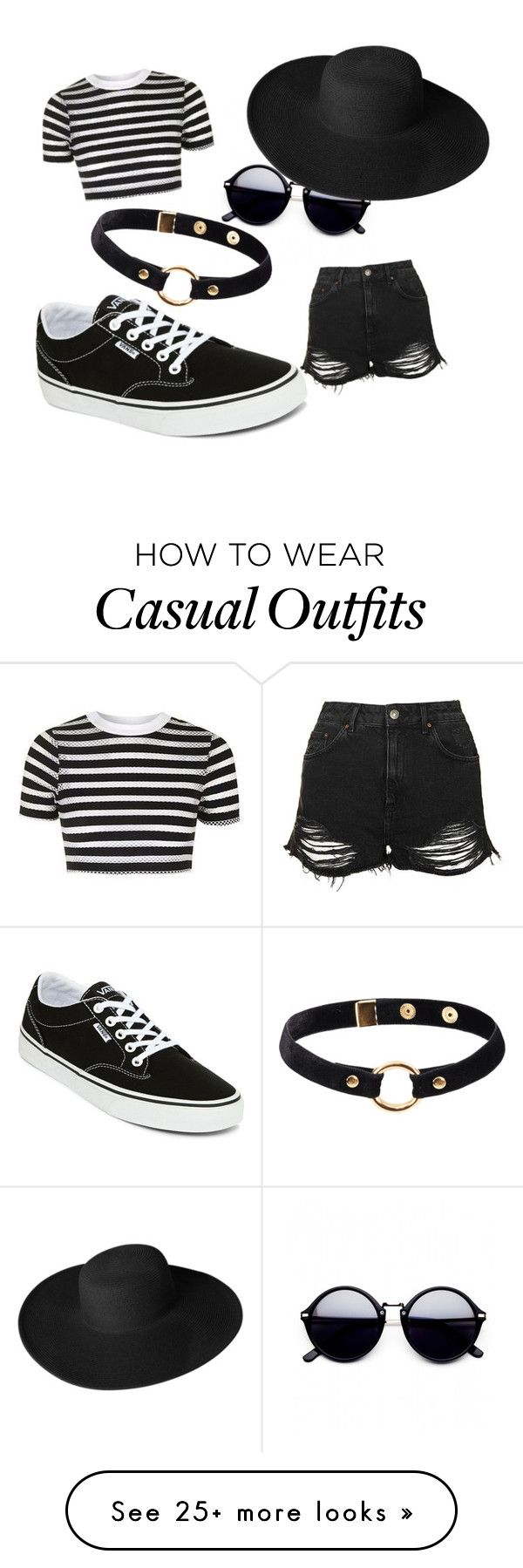 """Casual Black"" by denyboy9812 on Polyvore featuring Topshop, Dorfman Pacific, Vans and Nika"