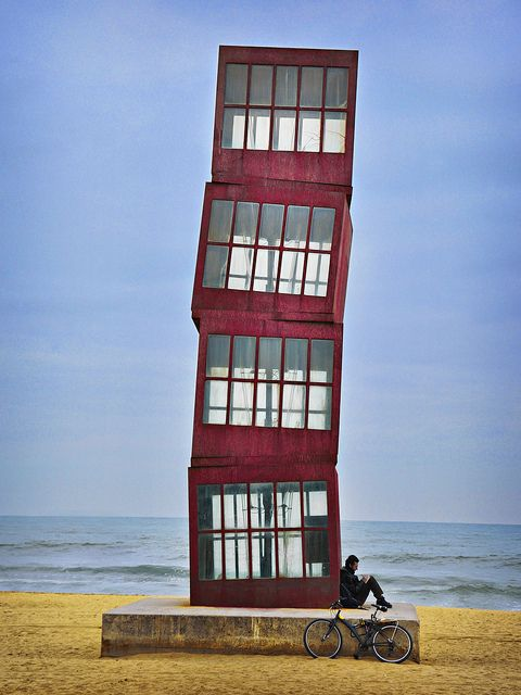 Barcelona Beach Tower - Barcelona, Spain;  'Homage to Barceloneta' - a sculpture made by Rebecca Horn for the 1992 Olympic Games;  photo by Mike McCusker LRPS and his Nikon, via Flickr   ...I guess you cannot use it as an observation tower...