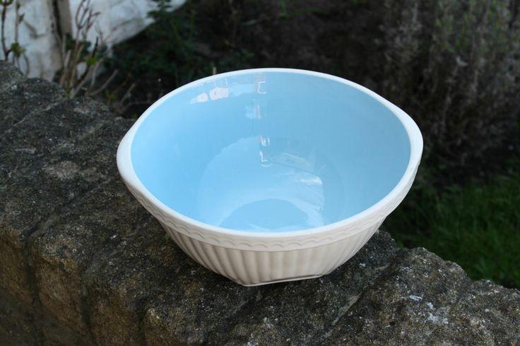Vintage TG Green Easimix Traditional Mixing Bowl – Pale Blue Inside Kitchenalia