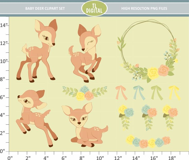 Baby Deer Clipart Set - Floral Fawn - High resolution PNG Files - 30 clipart designs by TLDigital on Etsy
