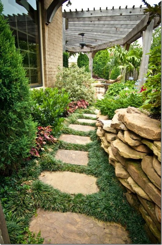 Mondo grass between stepping stones garden landscapes for Garden landscape ideas for small spaces