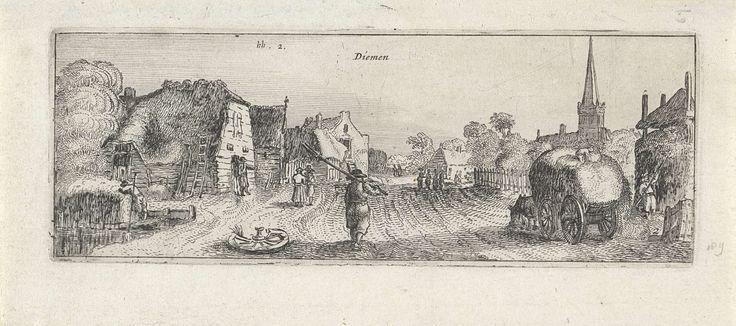 Anonymous | Gezicht op het dorp Diemen, Anonymous, Claes Jansz. Visscher (II), 1612 - 1652 | Gezicht op een brede landweg in het dorp Diemen. Op de voorgrond een man met een hooivork en links van de weg enkele huizen. Rechts een hooiwagen en op de achtergrond de kerk.