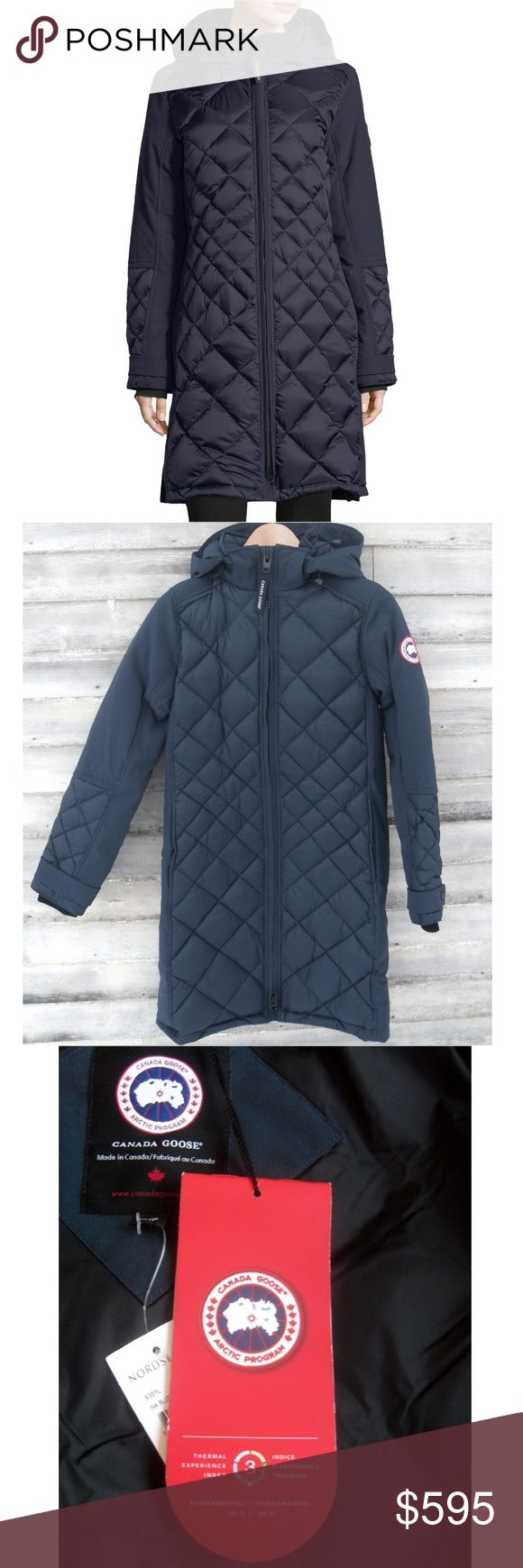 """Canada Goose Women's Cabot Quilted Down Parka NEW A stylish long down coat for cold weather wear. Made in Canada. Dark """"Ink Blue"""". New w/tags. Never worn. Size S (4-6). Retail price $1095.  Quilted down with smooth sides and upper arms. 675 fill power. Lined with 80% goose down and 20% feather fill. Removable drawstring hood. Zip front. Logo patch on left sleeve. Thigh / knee length. Double back vent with snaps. Side zipper pockets. Inner zip pocket and open mesh pocket.  100% authentic with…"""