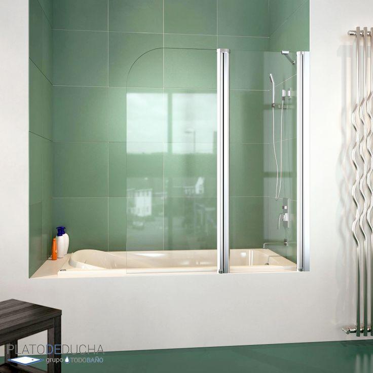 Mampara de bañera con una hoja autorretornable y una hoja fija. Acabado en perfil blanco o cromo. 100% Fabricada en España