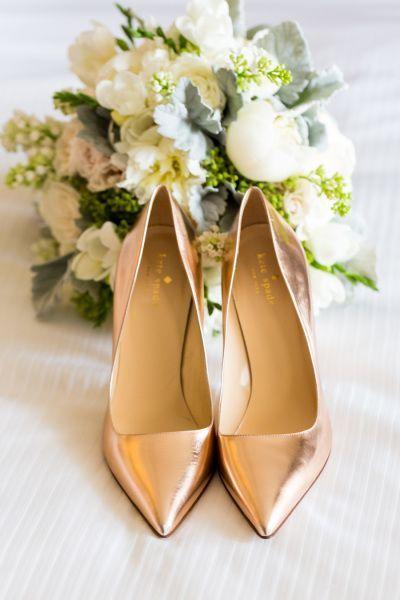 Rose gold Kate Spade pumps: www.stylemepretty... Photography: Koman
