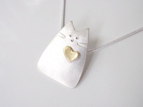 Cat Jewelry, Kitty Cat Pendant Silver with 24k gold heart  | GildedOwlJewelry - Jewelry on ArtFire
