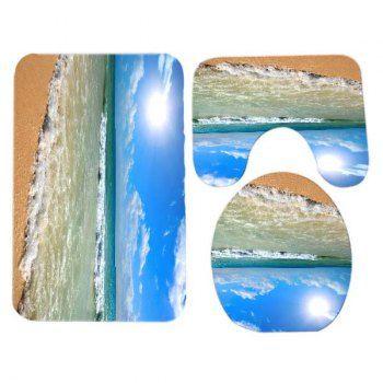 Beach Waves Pattern 3 Pcs Bathroom Toilet Mat -  BLUE