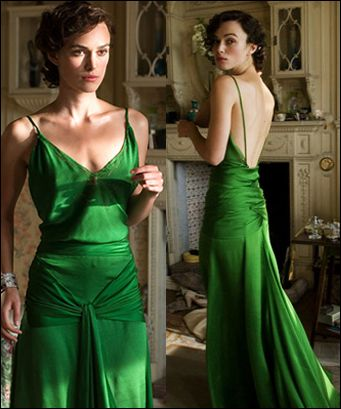 "Keira Knightly's dress in ""Atonement"" might be my all-time favorite movie dress (aside from Elizabeth Taylor's white dress in ""Cat on a Hot Tin Roof"", obviously)."