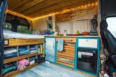 I like this storage under the bed. Awesome CamperVan layout and decor!