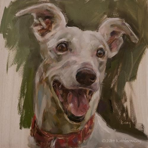 """Day 3 - Greyhound"" - Original Fine Art for Sale - © Kathleen Coy"