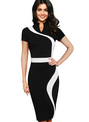 Polyester Color Block Short Sleeve Mid-Calf Elegant Dresses (1018582) @ floryday.com