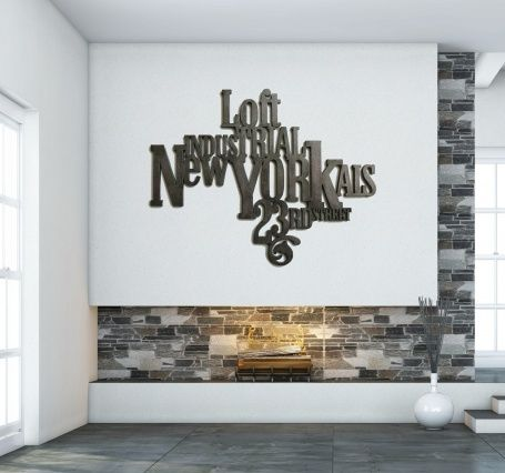 decoration murale version typo typographie new york loft industriel de chez saint york. Black Bedroom Furniture Sets. Home Design Ideas