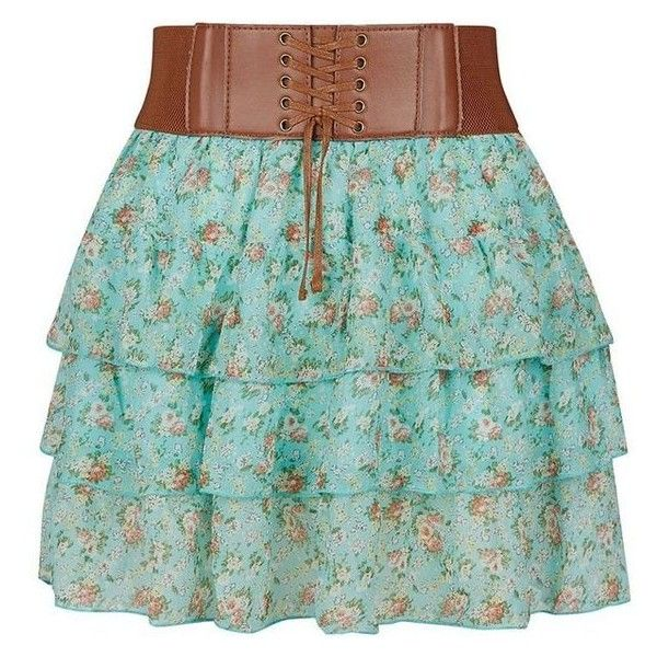 Teens Mint Green Ditsy Floral Rara Skirt ❤ liked on Polyvore featuring skirts, bottoms, green skirt, mint skirt and mint green skirt