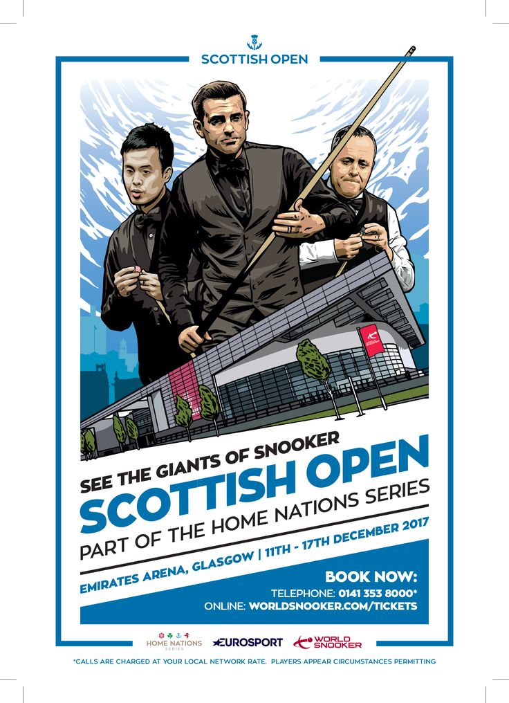 Scottish Open - See the Giants of Snooker.  Part of the Home Nations Series  With the help of FDG Flyer Distribution Glasgow - https://www.facebook.com/FlyerDistributionGlasgow/posts/1531194886969697