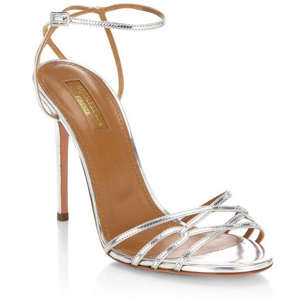 Aquazzura First Kiss Leather Ankle Strap Sandals ($750) ❤ liked on Polyvore featuring shoes, sandals, silver open toe sandals, strappy sandals, aquazzura sandals, strap heel sandals and heeled sandals