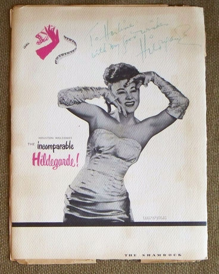 FRONT 1949 MENU COVER FROM THE SHAMROCK HOTEL WITH HILDEGARDE'S AUTOGRAPH  | eBay