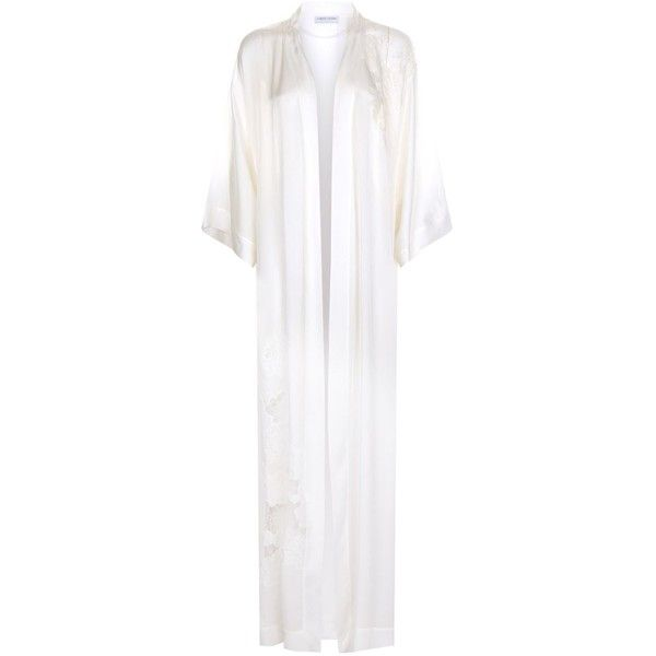 Carine Gilson Lace Silk Kimono Robe ($2,500) ❤ liked on Polyvore featuring intimates, robes, lace kimono robe, kimono robe, lace robe, floral lace kimono and floral kimono robe