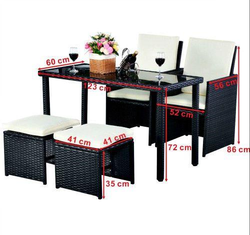 5PC Rattan Garden Furniture Dining Set Wicker Patio GlassTop Table Ottoman Chair #SmartDealsMArket