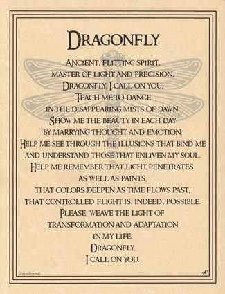 Hang the Dragonfly poster, written by Travis Bowman and illustrated by artist Eliot Alexander, to learn and speak a prayer that can aid you in bringing the spirit of this spry, magical creature into y