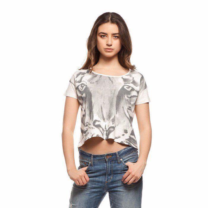 %100 Organik Pamuklu Kaplan Baskılı Kadın Tişört trendolia.com'da #moda #trend #giyim