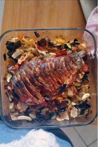 Lecsós sült hal zöldségekkel