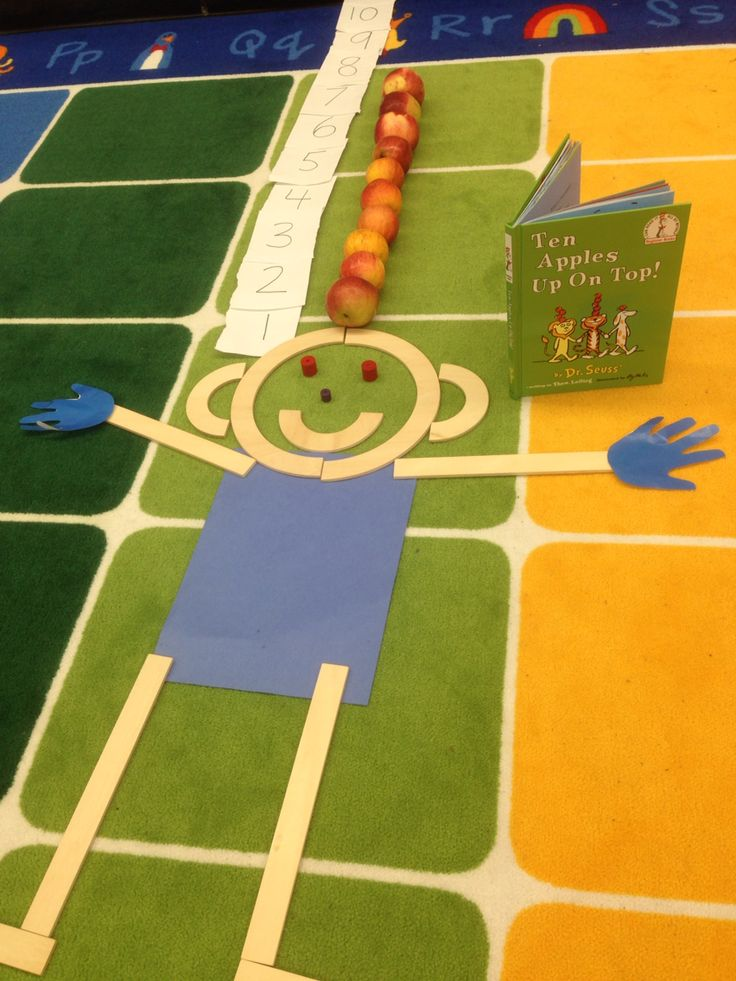 """MAT MAN helps us to count to 10 while reading """"Ten Apples Up on Top"""" by Dr. Seuss in Pre-K!"""