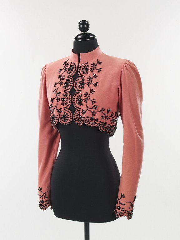 Beaded wool jacket by Elsa Schiaparelli  1940Elsa Schiaparelli, Handmade Skirts, Pink Coats, 1940S Fashion, Wool Jackets, Black Beads, Beads Jackets, Beads Wool, Europe 1940S