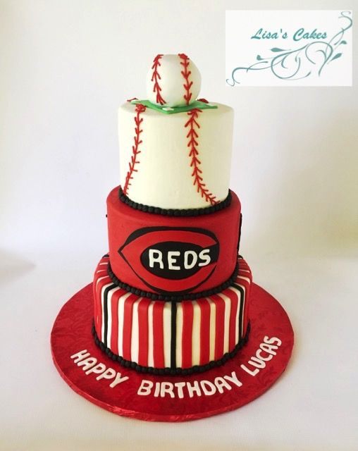 Cincinnati Reds Baseball Cake - buttercream iced