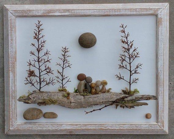 """Pebble Art, Rock, Pebble Art Family, Rock Art Family, family of five, blended family, unique pebble art, 8.5×11 """"open"""" frame (FREE SHIPPING)"""