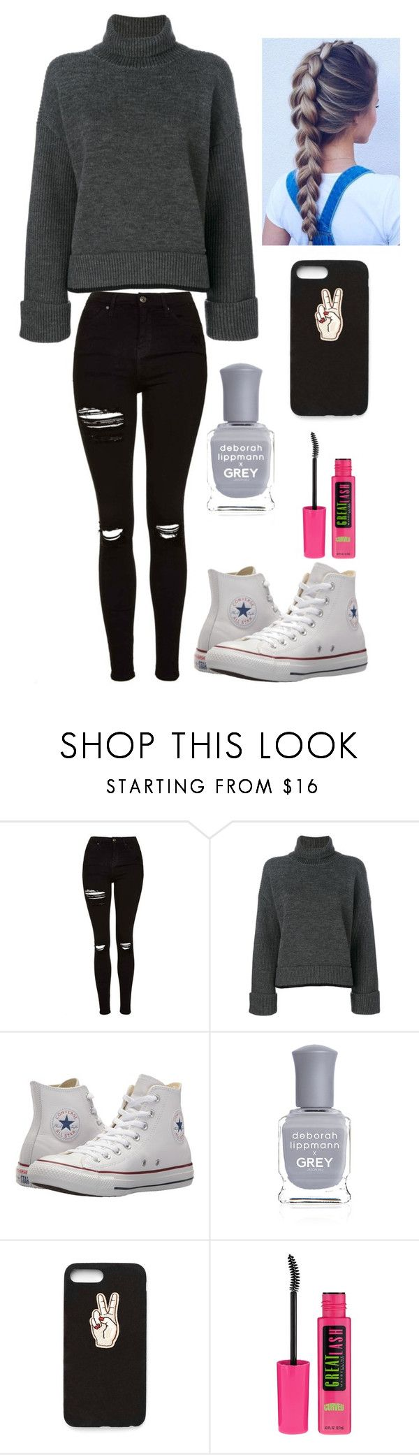 """""""School"""" by lagr on Polyvore featuring Topshop, Dsquared2, Converse, Deborah Lippmann, Nasty Gal and Maybelline"""