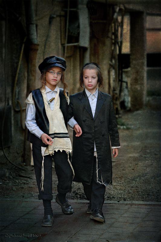 Orthodox Jewish boys dress for Purim in Israel.