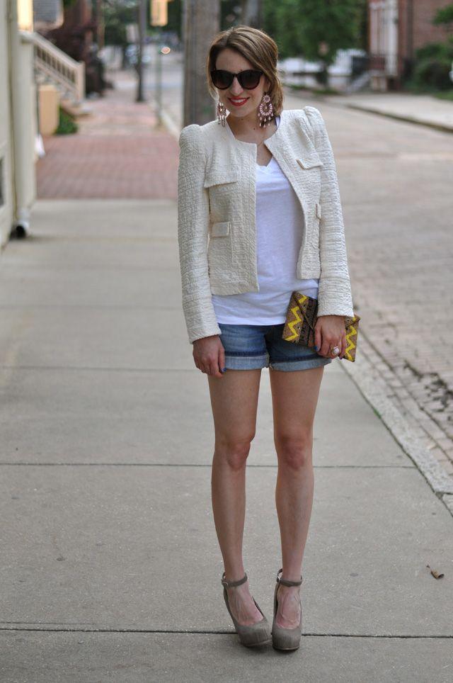 blazer!!: Boxy Jackets, Shorts Heels, Style Inspiration, White Jackets, Style Itwith, Itwith Shorts, Denim Shorts, Jeans Shorts, Cream Jackets