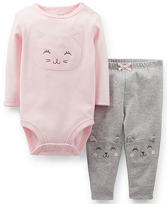 Baby Girl Stuff: Carter's Baby Girls' 2-Piece Long-Sleeve Kitty Bod...