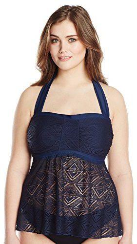Plus Size Crochet Flyaway Bandeau Tankini Swimsuit