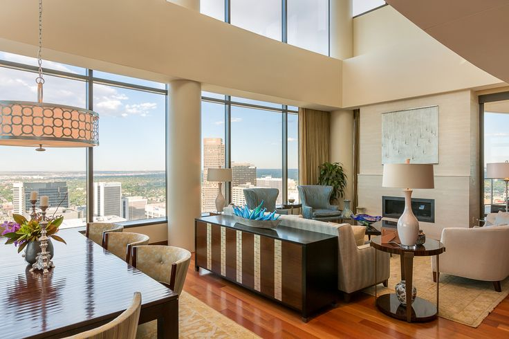 'It was a nice change from living in a house with a yard,' said Ms. Marquez. The couple's three daughters had already left for school when they decided on their next move. The 6,295-square-foot unit features a 24-foot-tall ceiling in the great room and expansive views of downtown Denver.