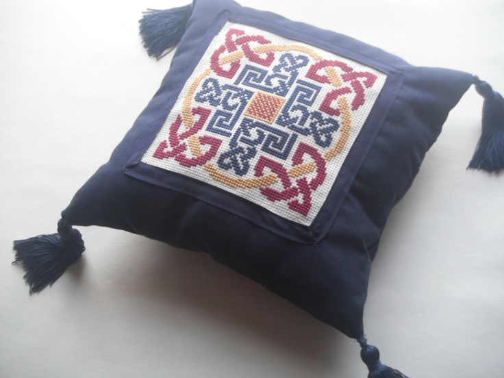 Mediaeval Inspired Navy Cotton PillowWith Cross-Stitiched Celtic Knotwork for your Home or Wedding. $65.00, via Etsy.