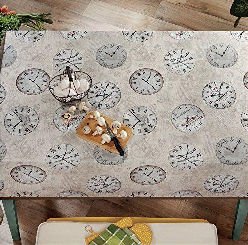 Tara Time Clock Vinyl Indoor/Outdoor Non-Woven Backing Kitchen Picnic Tablecloth